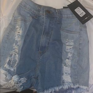 Jean two toned high waisted shorts